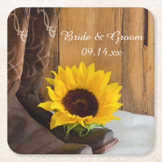 Country Sunflower Western Wedding Square Paper Coaster