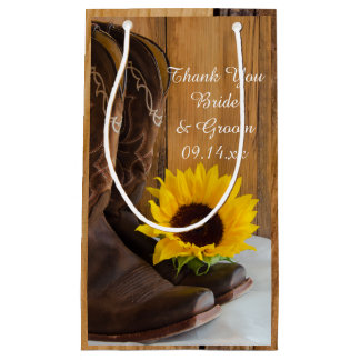 Country Sunflower Western Wedding Thank You Small Gift Bag