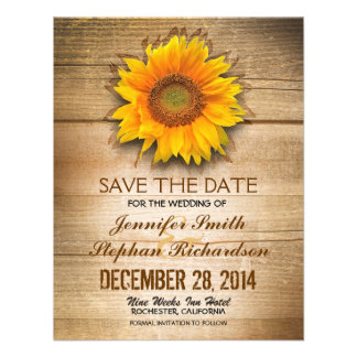 country sunflower wooden save the date cards