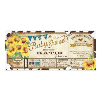 Country Sunflowers and Cow Print Baby Shower Card