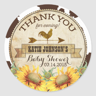 Country Sunflowers and Cow Print Baby Shower Round Sticker