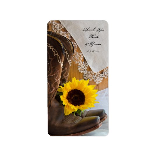 Country Sunflowers and Lace Wedding Favour Tags Address Label