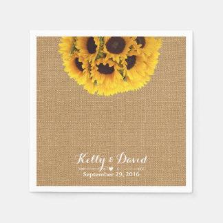 Country Sunflowers Burlap Wedding Disposable Serviettes