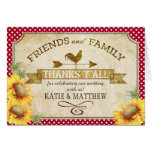 Country Sunflowers Gingham Check Rustic Thank You Note Card