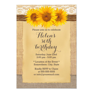 Country Sunflowers Laced Burlap Birthday Party Card