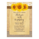 "Country Sunflowers Laced Burlap Birthday Party 5"" X 7"" Invitation Card"