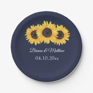 Country Sunflowers on Blue Paper Plate