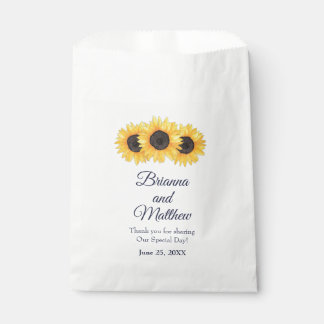 Country Sunflowers on Blue Wedding Favor Bag