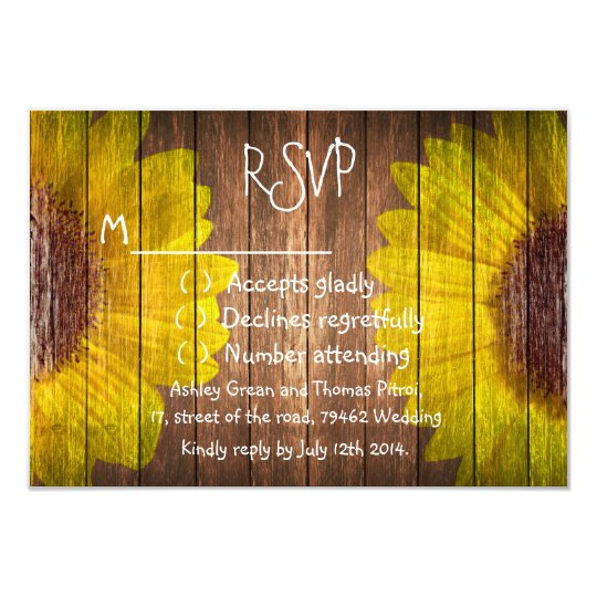 Country Sunflowers Rustic Brown Wood RSVP Wedding Card