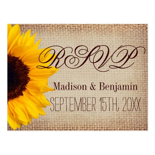Country Sunflowers Rustic Burlap RSVP POSTCARDS