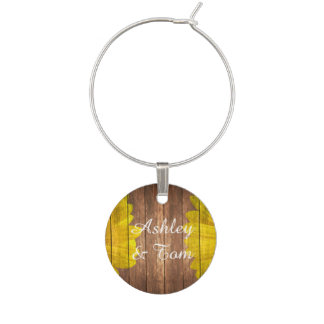 Country Sunflowers Rustic Vintage Brown Wood Wine Charm