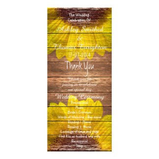 Country Sunflowers Rustic Wood Wedding Programs Rack Card