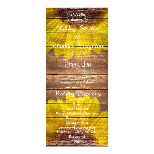 Country Sunflowers Rustic Wood Wedding Programs Rack Card Design