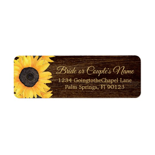 Country Sunflowers Wood Return Address Label