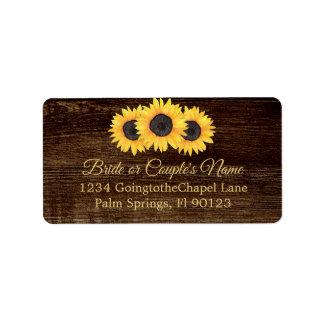 Country Sunflowers Wood Wedding RSVP Address Label