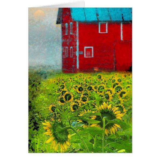 Country sunrise, Barn card, Sunflowers, farm Card