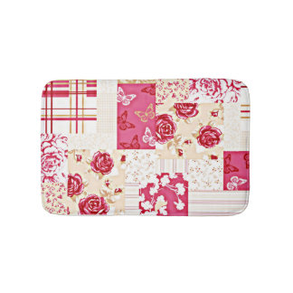 Country Sweet Ruby Rose Crazy Quilt Bath Mats