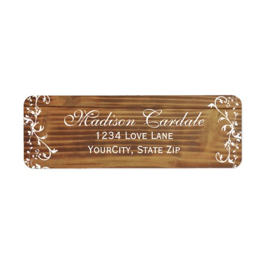 Country Swirls Rustic Wood Return Address Labels