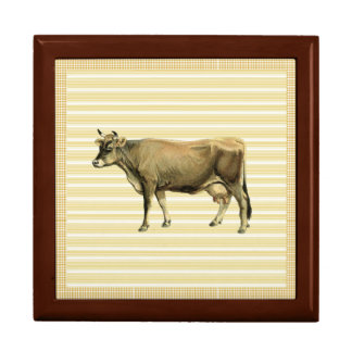 Country Tan Cow Beige Stripe Gingham Check Decor Gift Box