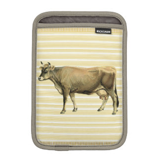 Country Tan Cow Beige Stripe Gingham Check Decor iPad Mini Sleeve