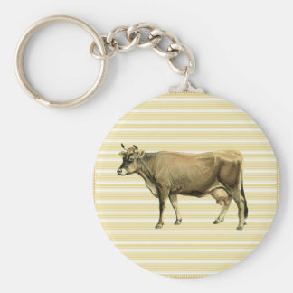 Country Tan Cow Beige Stripe Gingham Check Decor Key Ring