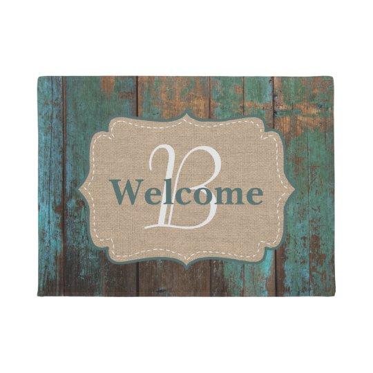 Country Teal Faux Wood & Burlap Monogram Welcome
