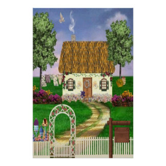Country Thatched Cottage Print