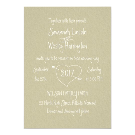 Country Theme Casual Font Wedding Invitation