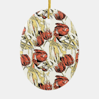 Country Tulips Ceramic Oval Decoration