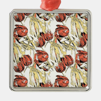 Country Tulips Silver-Colored Square Decoration