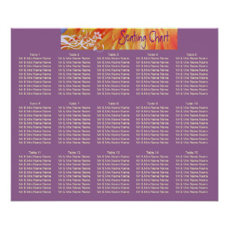 Country vibrant daisies wedding seating chart posters