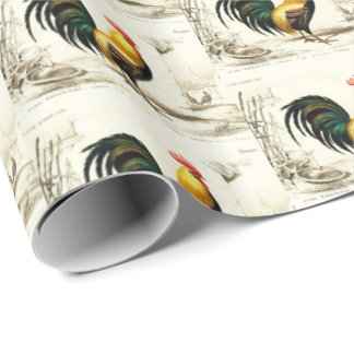Country Vintage Farm roosters party tiled wrap Wrapping Paper