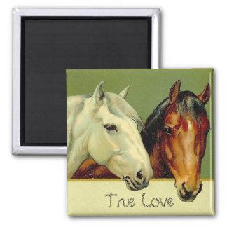 Country Vintage Horses True Love Fridge Magnet