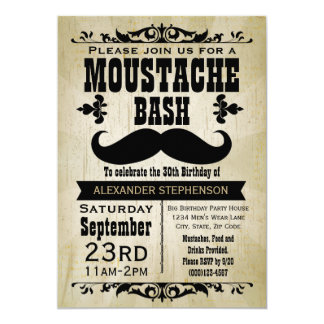 Country Vintage Moustache Bash Birthday Party Card