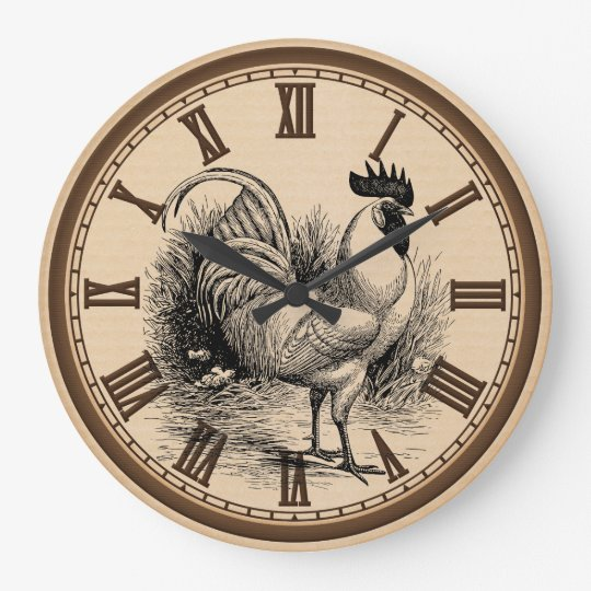 Country Vintage Rooster Kitchen Wall Clock