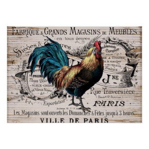 Country Rooster Posters Prints Zazzle Uk