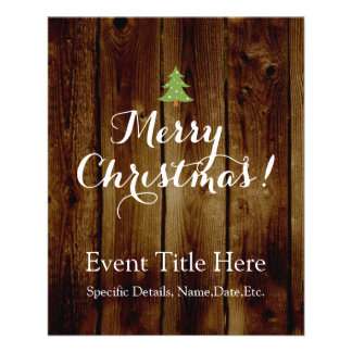 Country Vintage Wood Merry Christmas Custom Flyer