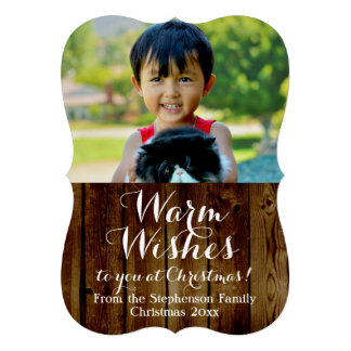 Country Vintage Wood Warm Wishes Christmas 13 Cm X 18 Cm Invitation Card