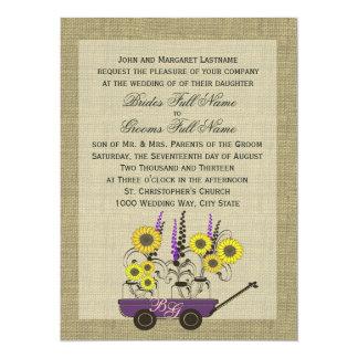 Country Wagon & Burlap Wedding Card