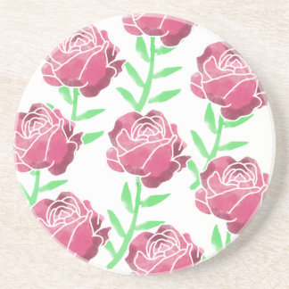 Country Watercolor Roses Sandstone Coaster