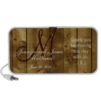 Country Wedding Favor Monogram Thank You Mp3 Speakers