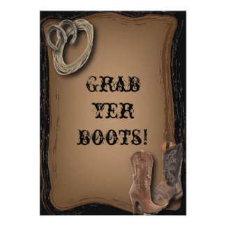 Country Wedding Invitation Grab Yer Boots