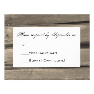 Country Wedding Response Card Invitations