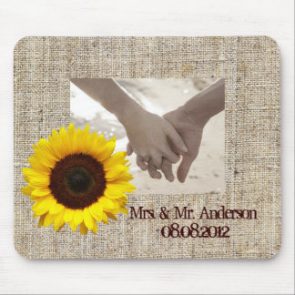 country wedding yellow Sunflower save the date Mouse Pad