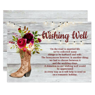 Country Western Boot Boho Rustic Wishing Well Card