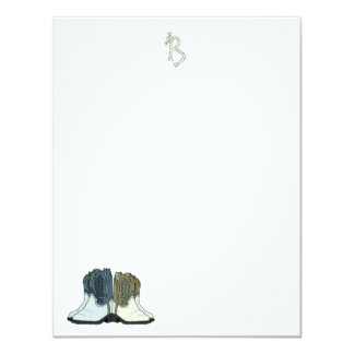 Country Western Boots Flat Monogram Note Cards 11 Cm X 14 Cm Invitation Card