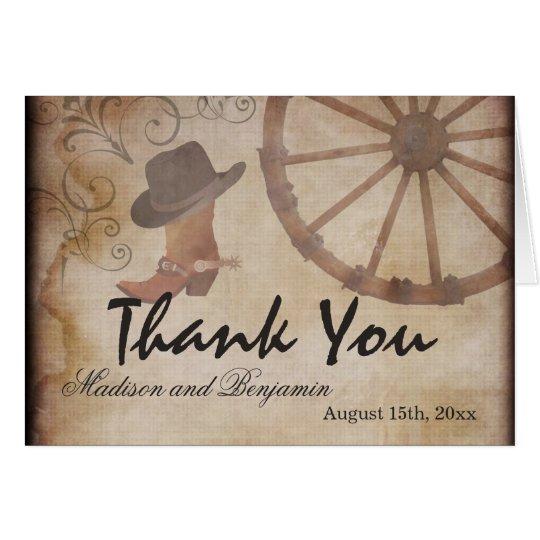 Country Western Cowboy Wedding Thank You Cards
