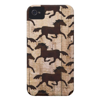 Country Western Horses on Barn Wood Cowboy Gifts iPhone 4 Covers