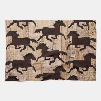 Country Western Horses on Barn Wood Cowboy Gifts Tea Towel