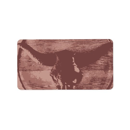 Country Western Longhorns Bull Skull Cowboy Gifts Address Label